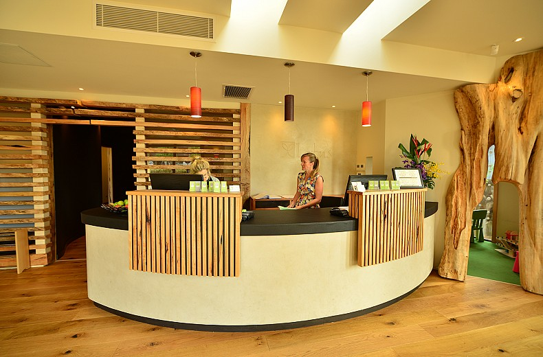 Natural timber detailing in the reception/waiting area.
